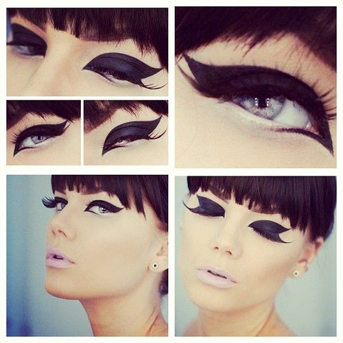 Black And Pink Kiss Makeup: Cat Eyeliner Double Winged White Black Pale Pink Lips