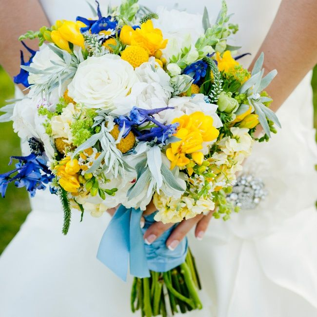 Yellow White & Blue Bridal Bouquet // photo: Sarma & Co Photography // http://www.theknot.com/weddings/album/a-natural-elegant-wedding-in-garrison-ny-133250