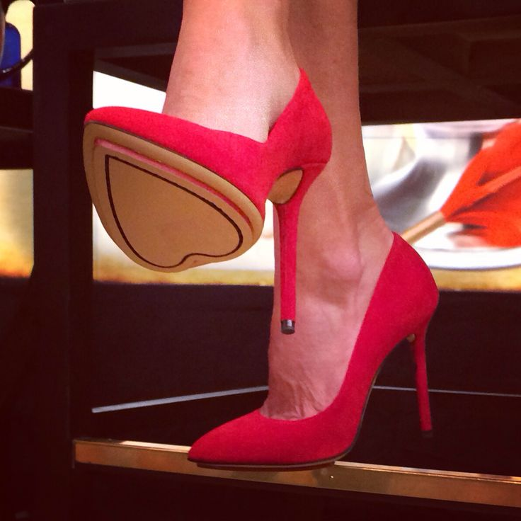Charlotte Olympia red heels with heart soles. Can you spot the other hearts in Kelly Ripa's outfit! #HappyValentinesDay #KellyandMichael