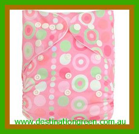 Modern Cloth Nappy - pink circles, $14.95
