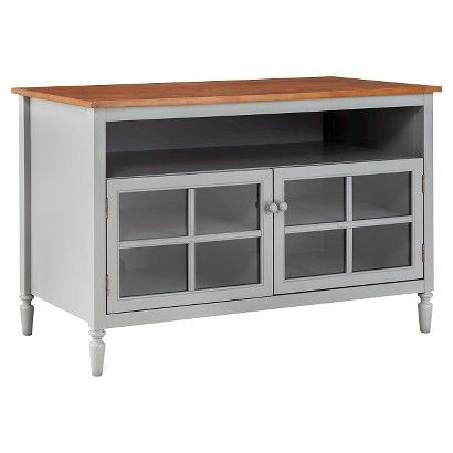 Isabella Glass Door with Open Shelf TV Stand - shows more content