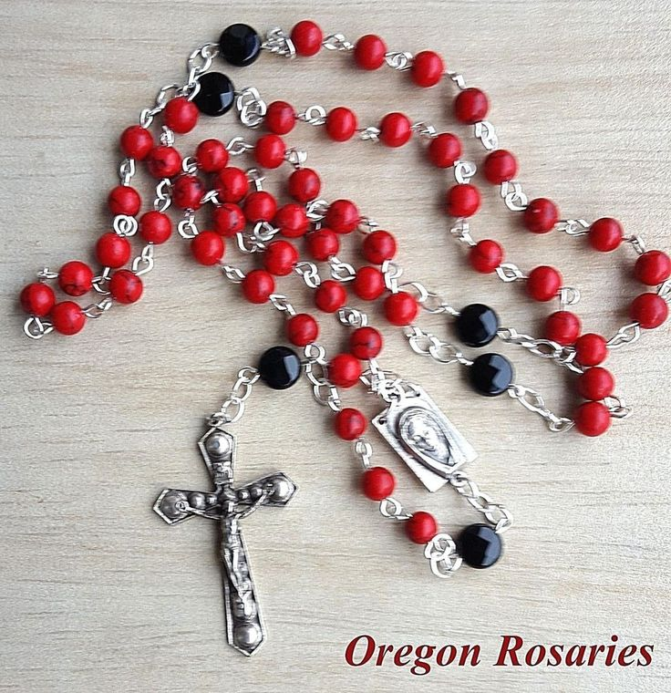 Red Turquoise and Black Onyx Rosary, Oxidized Silver  #OR1139 | Collectibles, Religion & Spirituality, Christianity | eBay!