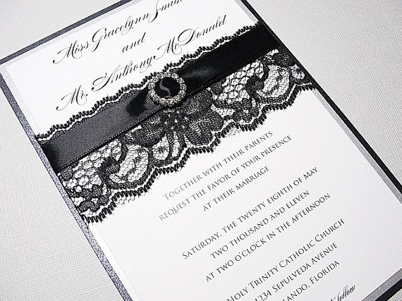 JUSTINE Lace Wedding Invitations with by LavenderPaperie1 on Etsy