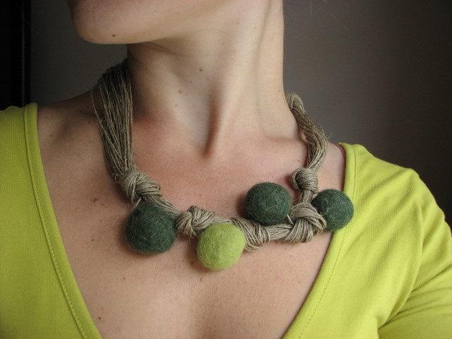 Kiwi Linen - Felt  necklace- Reserved