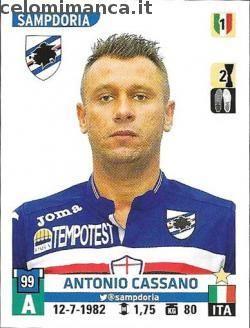 Calciatori 2015-2016: Fronte Figurina n. 493 Antonio Cassano