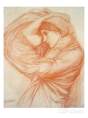 Study for 'Boreas' (Red Chalk on Tinted Paper) Giclee Print by John William Waterhouse at AllPosters.com