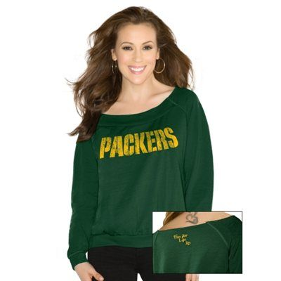 Touch By Alyssa Milano Green Bay Packers Women's Draft Choice Boat Neck Sweatshirt - Green