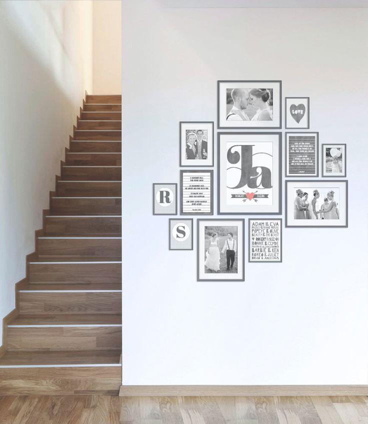 muurcollage met foto's en prints in lijstjes
