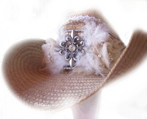 Cowboy Cowgirl Hat Embellished Cross and Roses by GirlFridayHats, $150.00