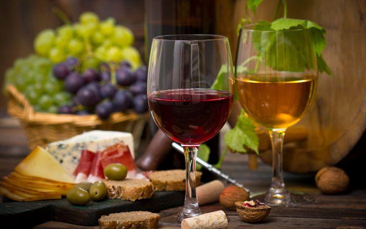 Скачать обои корзина, бокалы, виноград, вино, раздел еда в разрешении 2880x1800
