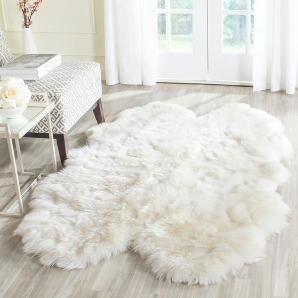 Safavieh Hand-woven Sheepskin Pelt White Shag Rug (3' X 5