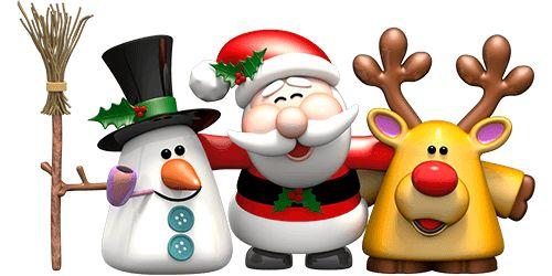 Vinilos Decorativos: Muñeco de nieve, Papa Noel y el reno Rudolf