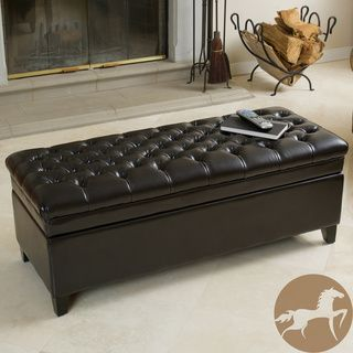 Christopher Knight Home Hastings Tufted Espresso Brown Leather Storage Ottoman 19 inches high x 50 inches wide x 20.5 inches deep $274