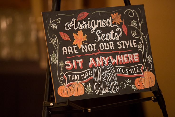 Totally stealing this text. LOVE!  Halloween wedding signs on @offbeatbride