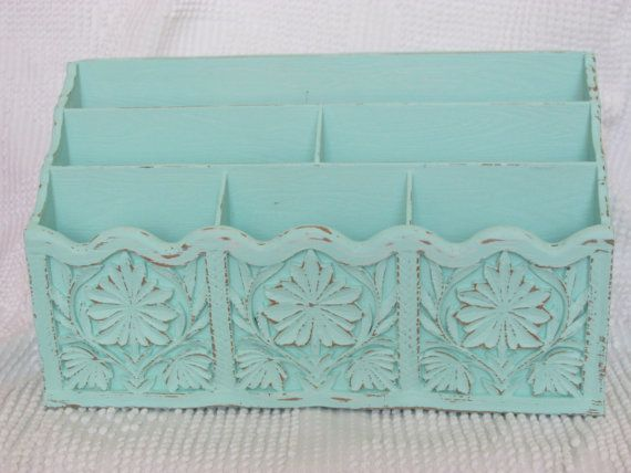 Upcycled mid century Lerner desk organizer in mint green retro kitch storage vintage 1970's office decor