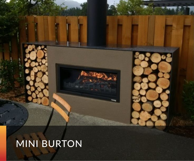 Outdoor Fireplace, wood fire, modern and contemporary, woodbox
