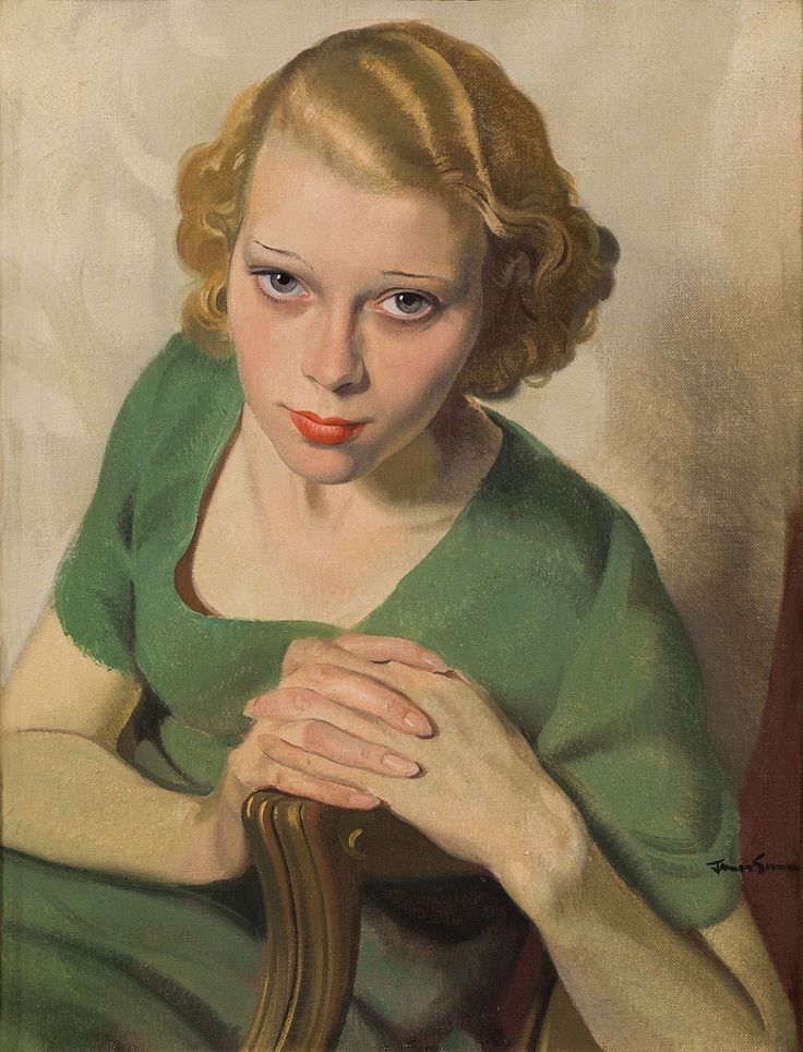 """Sonja in Green"" - Sir Herbert James Gunn (Scottish, 1893–1964), oil on canvas, c.1932 {figurative artist beautiful blonde female seated woman face portrait painting #twentiethcentury #arthistory #loveart} <3"