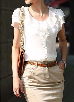 650a0f4749efc Solid Vintage Round Neckline Short Sleeve Blouses - Floryday   floryday.com