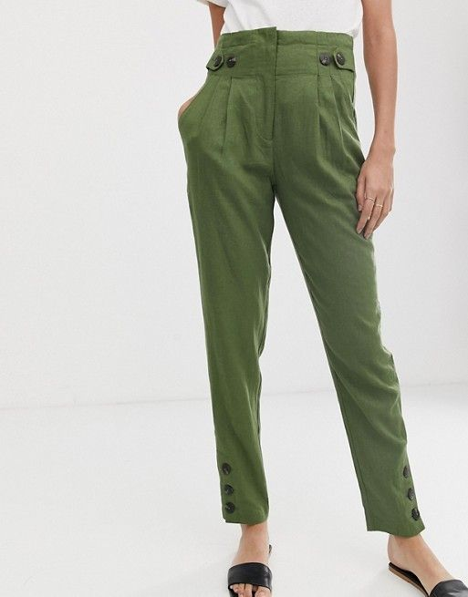 4965aca96c0 Y.A.S Tall button detail peg trousers in 2019   Pants   Peg trousers ...