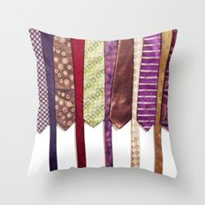 Load of Ties - Multicoloured 2 Throw Pillow by I Love the Quirky