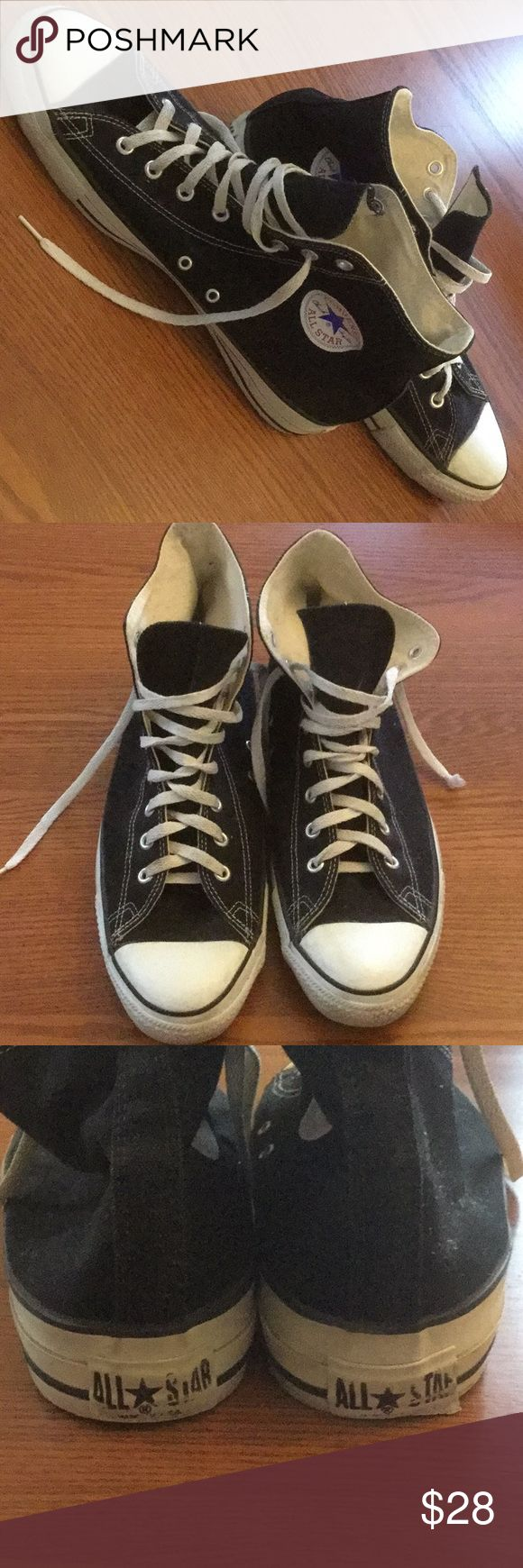 Men's Converse high tops Black Converse high tops in good used shape!… not worn much. The most wear is seen on the Converse name at the back and minor cracks at the toe. Also one shoe string tip is missing. Otherwise they look like new shoes Converse Shoes Sneakers