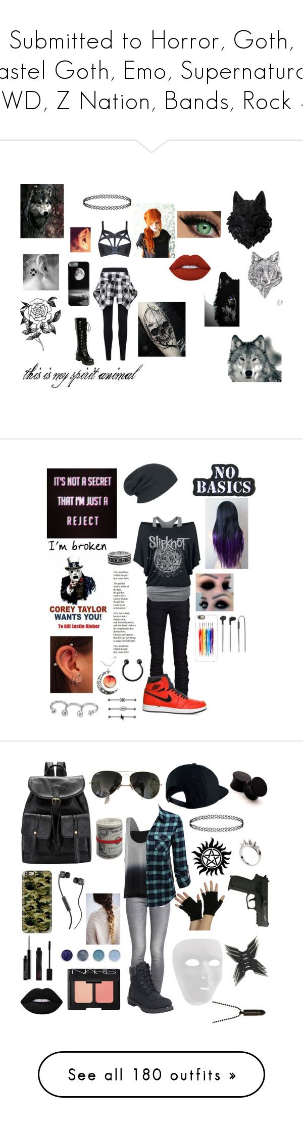 """""""Submitted to Horror, Goth, Pastel Goth, Emo, Supernatural, TWD, Z Nation, Bands, Rock 4"""" by dreadful103 ❤ liked on Polyvore featuring Agent Provocateur, Forever 21, Hot Topic, Lime Crime, Plein Sud, NIKE, Uno de 50, King Baby Studio, Hollywood Mirror and Casetify"""