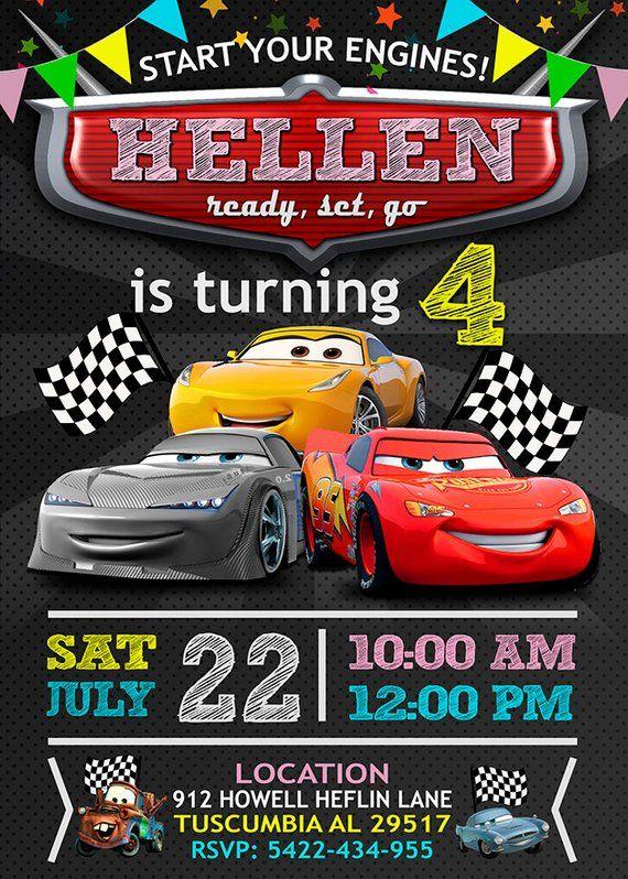 Invitación De Cumpleaños De Cars De Disney Invitaciones