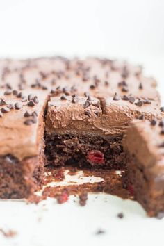 Chocolate cherry cake is a moist chocolate cake with cherry pie filling. It's easy to make, with box cake mix, and topped with a thick and fudgy chocolate frosting.