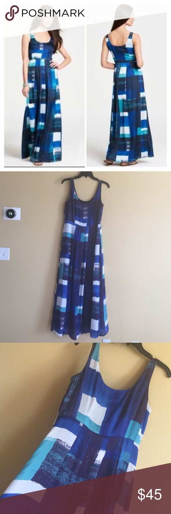Ann Taylor size 8 Petites long Maxi blue Dress Gorgeous! Size 8 petite with measurements of 18 in from underarm to underarm and 45 in from underarm going down the side length.  100% polyester, feels like silk. Hidden zipper on side. (514VT) Ann Taylor Dresses