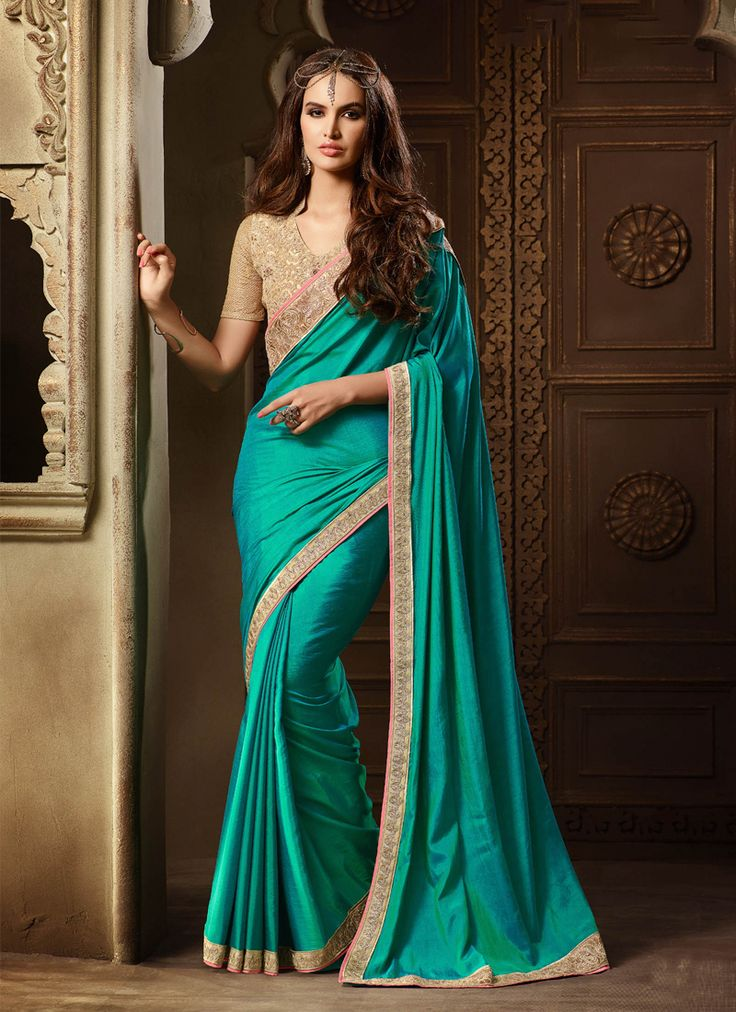 Intricate Patch Border Work Sea Green Classic Designer Saree