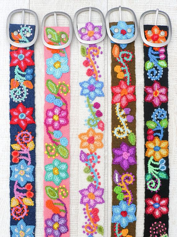 Hand embroidered belt floral colorful Ivory floral ethnic