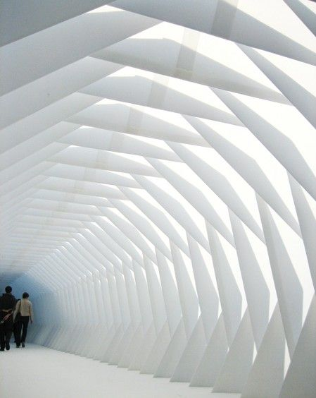 plain white space, made interesting with geometric shapes. Installation Xile