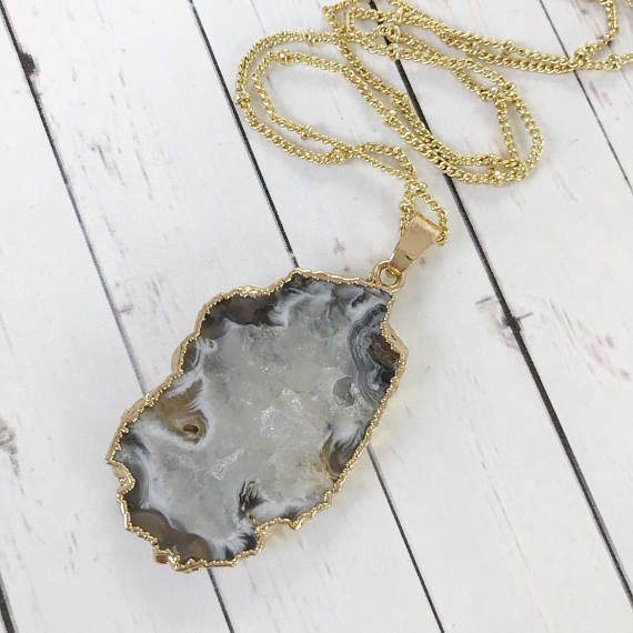 White, Gray and Tan Agate Slice Pendant Necklace // Druzy and Gold Boho Style // Gifts for Her