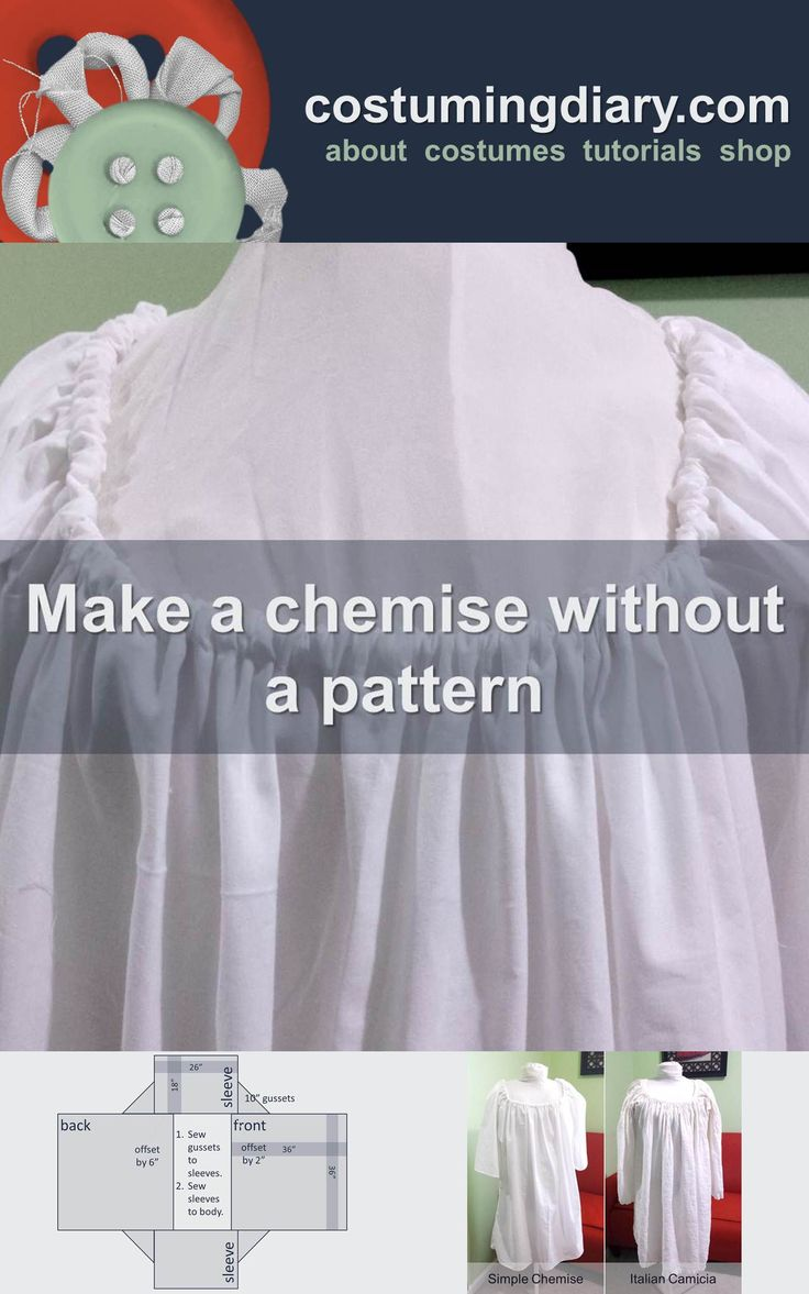 Tutorial on how to make a chemise without a pattern with fabric layout, and cutting diagram.