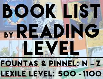 Book List by Reading Level: FREEBIE: Enjoy this printable list of books, sorted by Fountas & Pinnell and Lexile reading levels. Perfect for deciding on book clubs, novel studies and independent reading books!