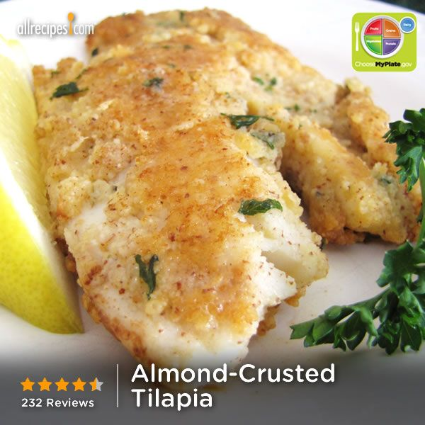 Almond-Crusted Tilapia | Tilapia is coated with ground almonds and Parmesan cheese in this delicious dish.