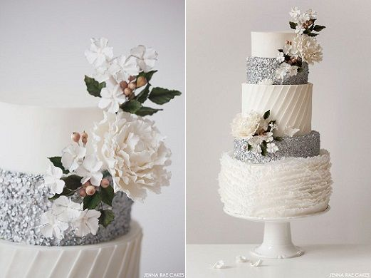 Pleated cake design silver and white wedding cake by Jenna Rae Cakes, image by Victoria Anne Photography