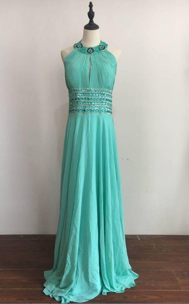 Cheap Stock Promotion Long Chiffon Prom Dresses Halter