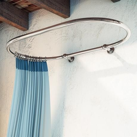 Traditional 1200 x 730mm Chrome Oval Shower Curtain Rail at Victorian Plumbing UK