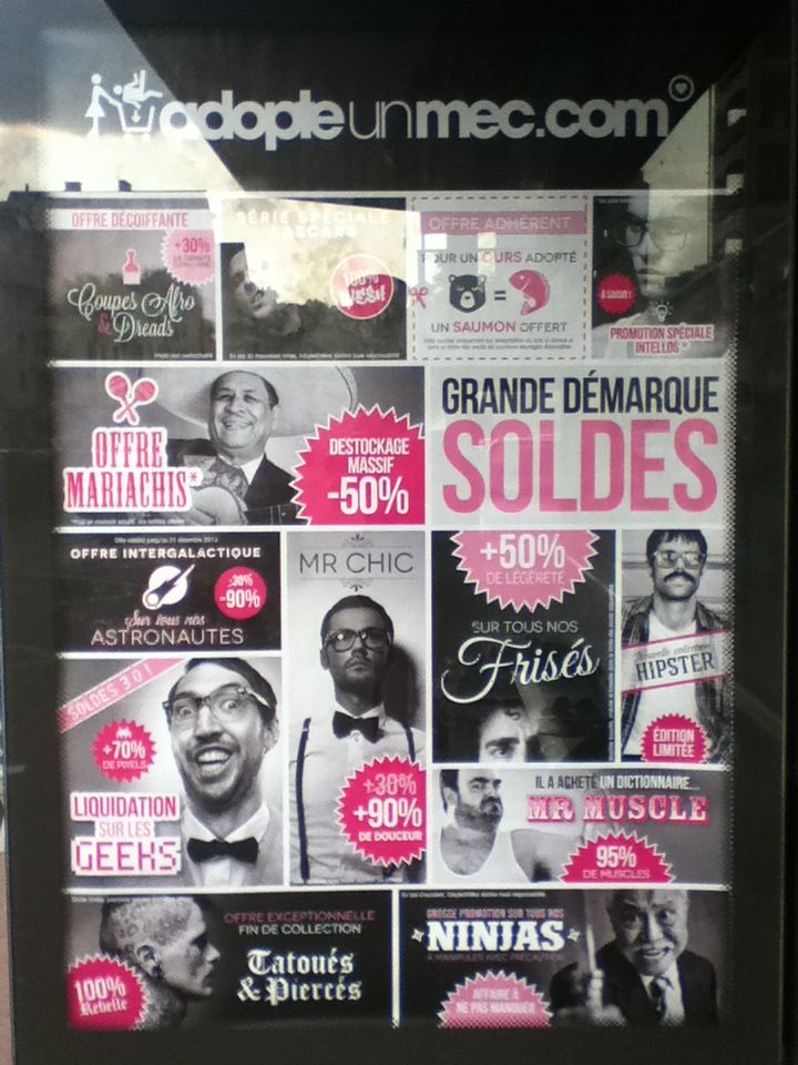 Adopteunmec, dating website, billboard campaign