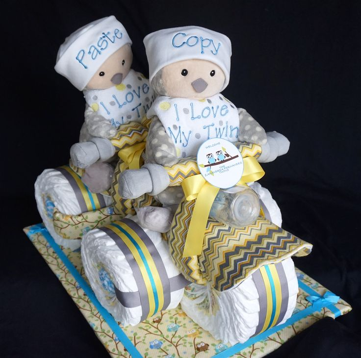 Twins Tricycle Built for Two Diaper Cake www.facebook.com/DiaperCakesbyDiana