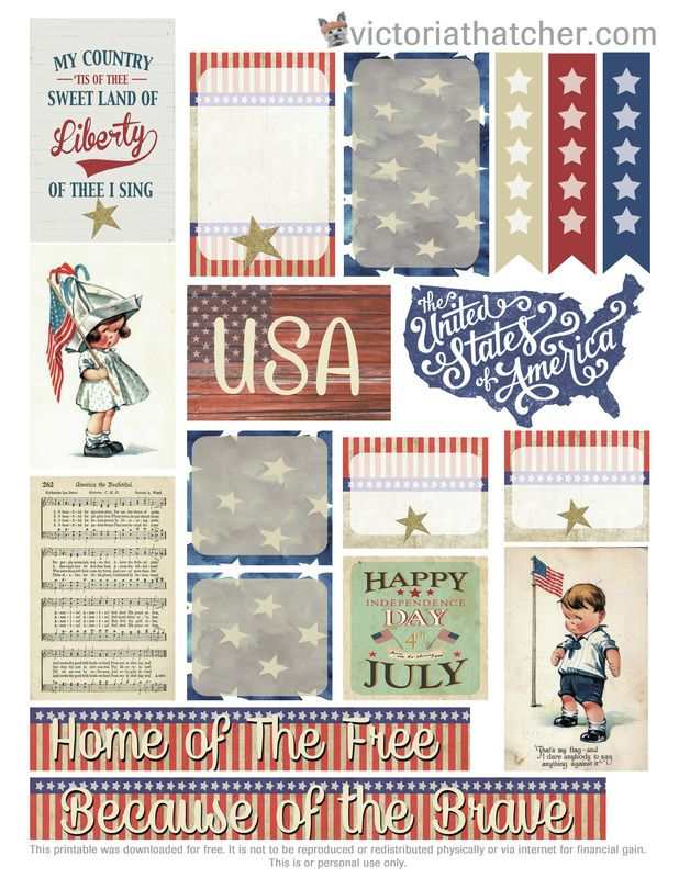Free Printable Independence Day Planner Stickers from Victoria Thatcher