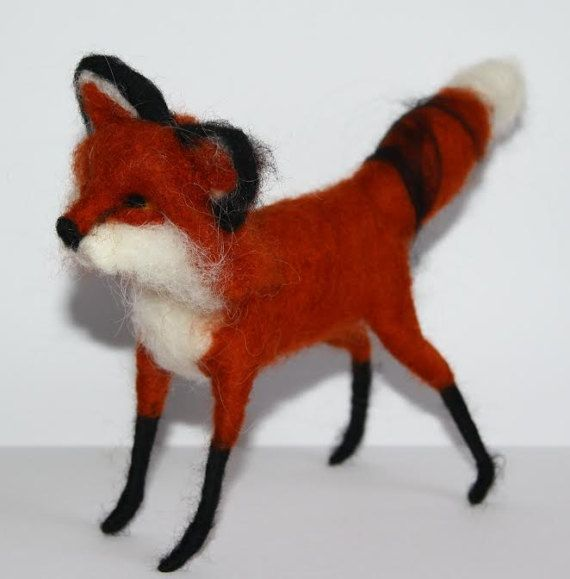 sweet Red Fox  needle felted miniature small animal by nutkaart