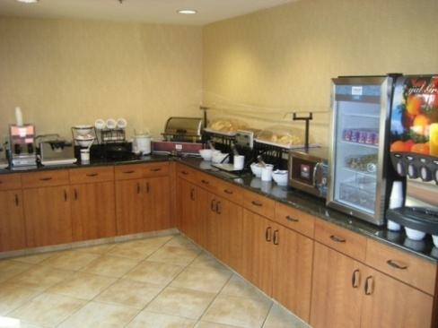 Complimentary Deluxe Hot Breakfast  -   breakfast which includes such items as make your own Belgium waffles, scrambled eggs, sausage, biscuits and sausage gravy, fresh fruit, and an assortment of baked goods, coffee, tea, and juice.
