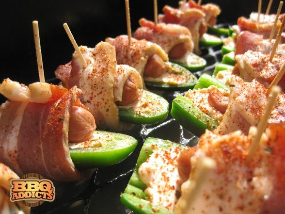 Atomic Buffalo Turds - jalapeno peppers, cream cheese, little smokies, and bacon - these are soooo... good!