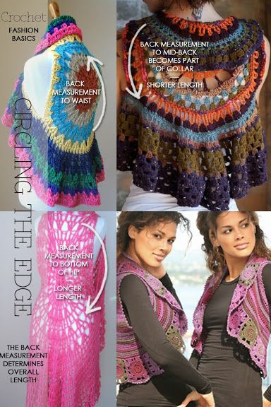 Circular vests - How to crochet your unique shrug, from basics to embellishments - There is also a tutorial - DiaryofaCreativeFanatic