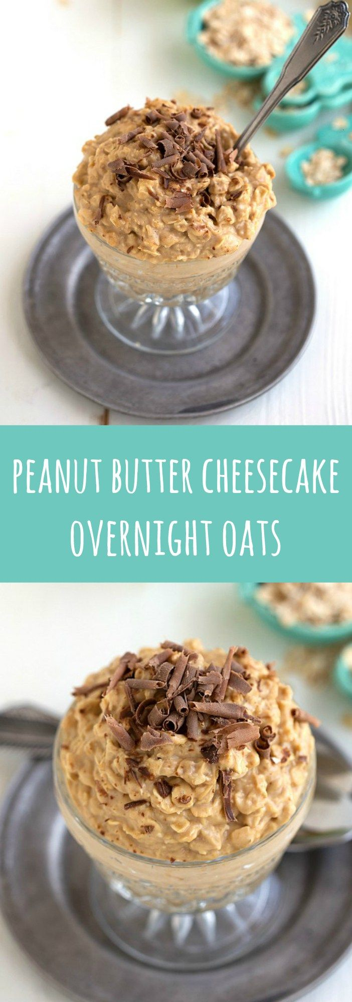 Delicious and easy peanut butter cheesecake overnight oats!