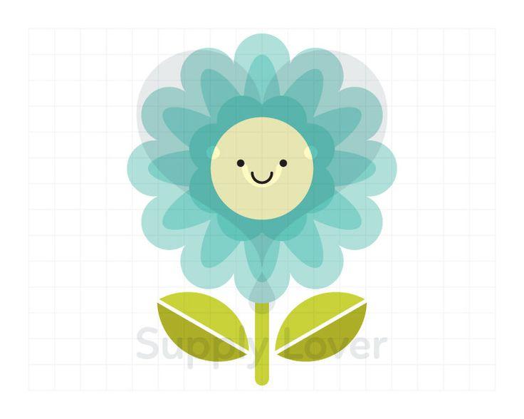 TURQUOISE FLOWER Clip-Art Commercial Use, Flower, Floral, Single, Leaf, Stem, Smile, Kawaii, Happy, Aqua - A0037