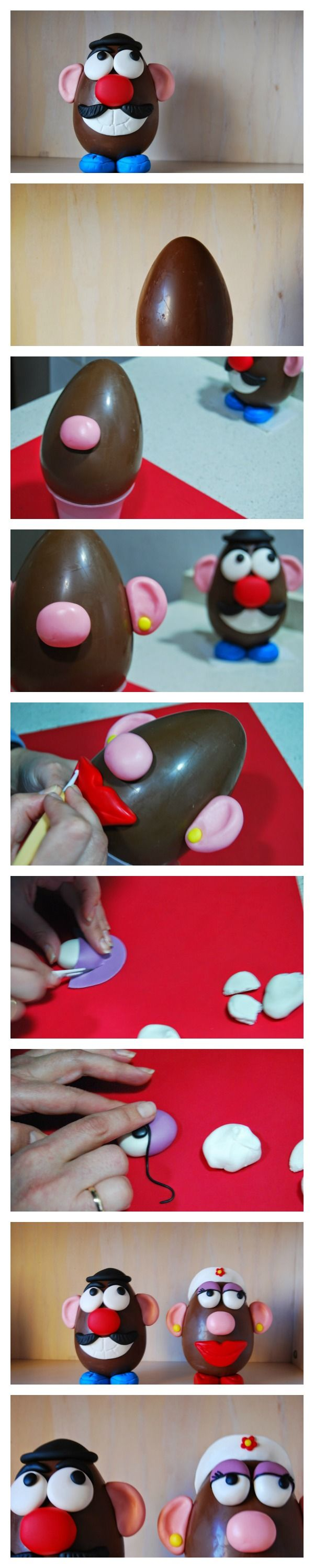 Best Mr. Potato head chocolate egg tutorial ever!! perfect for easter present. El mejor tutorial de Mr. Potato huevo de chocolate y fondant. Perfecto para regalar en pascua!!