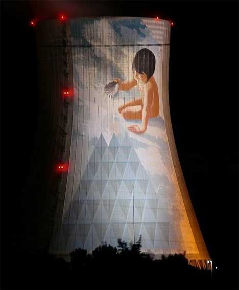 At least one nuclear power plant is taking strides to warm the public to its presence. The Cruas Nuclear Power Station in France commissioned artist Jean-Marie Pierret to create a giant mural on a cooling tower; the mural was finished in 2005 and focuses on the interplay of water and air.
